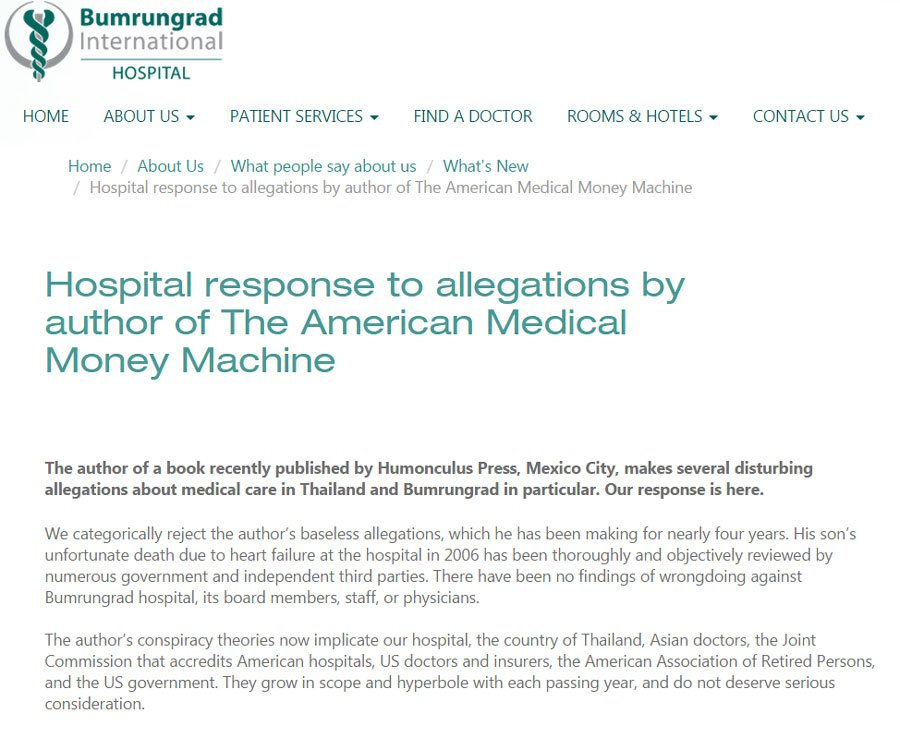 The statement of Bumrungrad International Hospital as posted on the their corporate website.