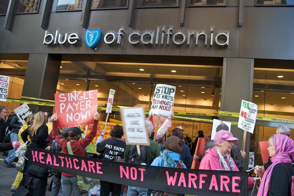 Health care reform protest at Blue Shield of California. Photo by Steve Rhodes/Flickr.
